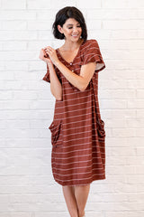 The Sophie House Dress: Caramel with White Stripe