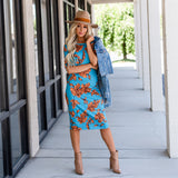 Everyday Tee Dress: Turquoise Floral