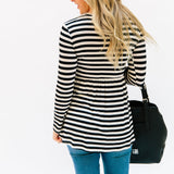 The Matti Striped Top: Black/Ivory