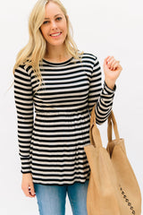 The Matti Striped Top: Gray/Black