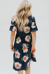 The Bryanna Floral Flutter Sleeve Dress: Navy