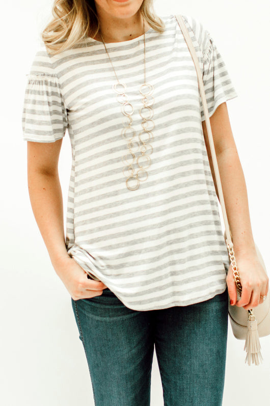 The Penelope Top: Gray Stripe