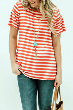 The Penelope Top: Coral Stripe