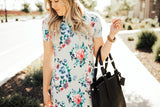 Floral Tee Dress: Gray Floral