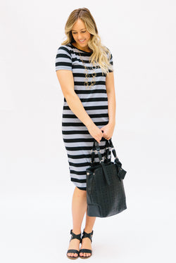 Striped Tee Dress: Black and Gray Thick Stripes
