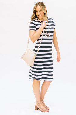 Striped Tee Dress: White and Charcoal Thick Stripes