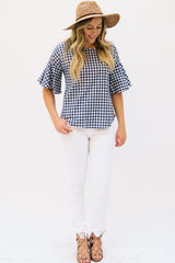 Gingham Top with Flutter Sleeves: Navy