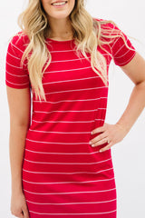 Striped Tee Dress: Red with Thin White Stripe