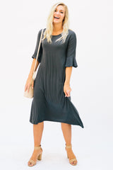 Flutter Sleeve Midi Dress: Gray Solid