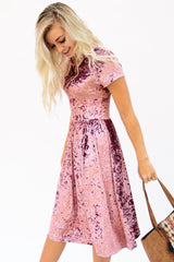 Crushed Velvet Midi Dress: Rose