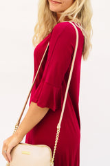 Flutter Sleeve Midi Dress: Cranberry Solid