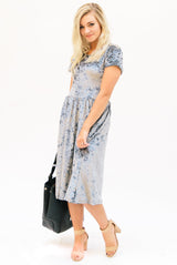 Crushed Velvet Midi Dress: Silver