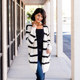 Long Cozy Striped Cardigan: Beige/Black