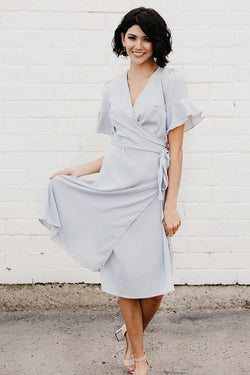 Midi Wrap Dress: Blue/Gray