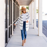 Long Cozy Striped Cardigan: Ivory/Gray