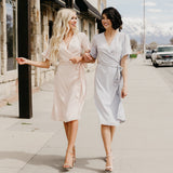 Midi Wrap Dress: Blush
