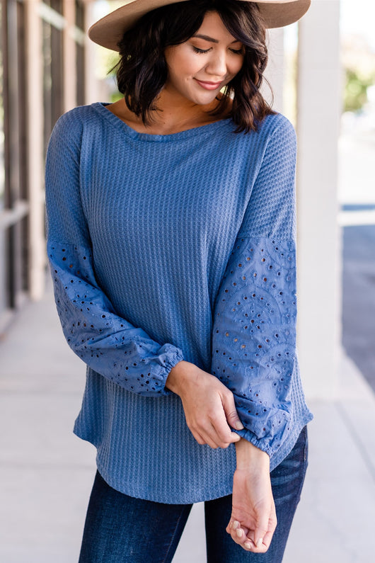 Waffle Knit Top with Eyelet Sleeve: Blue