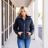 Gold Zipper Detail Coats: Navy