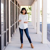 Waffle Knit Top with Eyelet Sleeve: Ivory