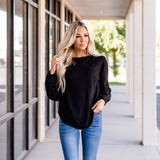 Waffle Knit Top with Eyelet Sleeve: Black