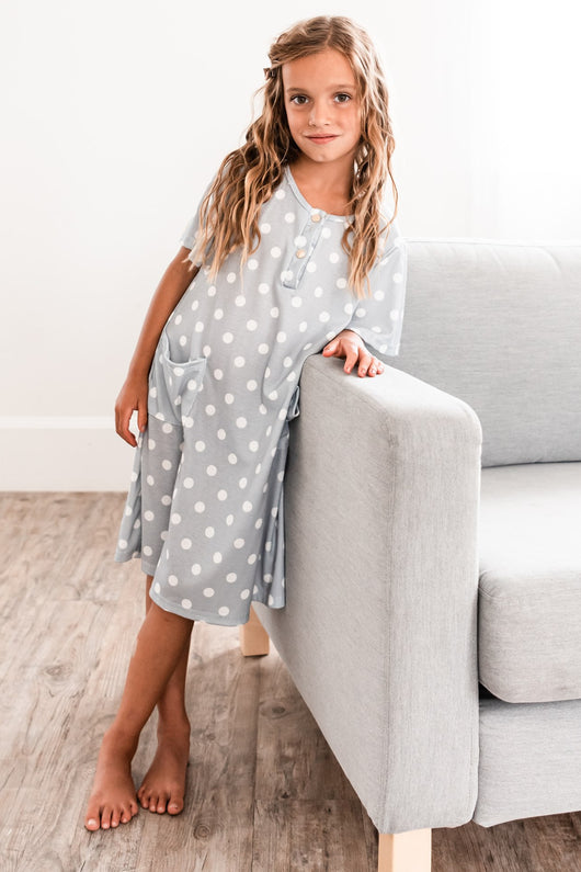The Scottie House Dress: Blue Dot (GIRLS' SIZES)