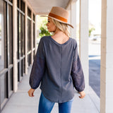 Waffle Knit Top with Eyelet Sleeve: Gray