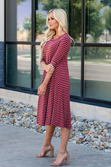 The Lizzie Swing Dress: Brick Stripe