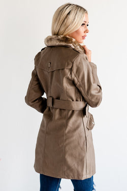 Long Belted Coat: Cappuccino