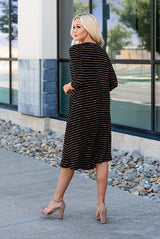 The Lizzie Swing Dress: Black/Tan Stripe