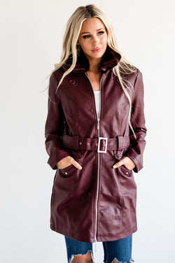 Long Belted Coat: Wine