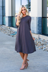 The Lizzie Swing Dress: Charcoal/White Stripe