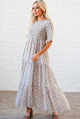 The Bella Smocked Maxi Dress: Ivory