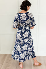 The Jenna Faux Wrap Midi Dresses: Navy