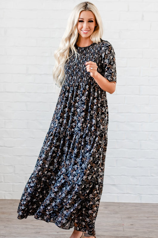 The Bella Smocked Maxi Dress: Black