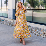 The Jenna Faux Wrap Midi Dresses: Yellow