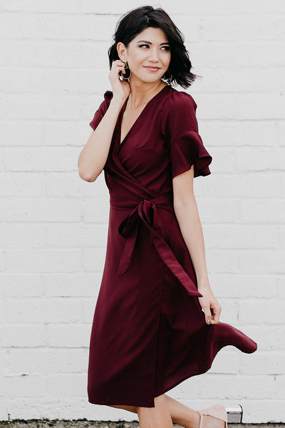 Midi Wrap Dress: Deep Plum