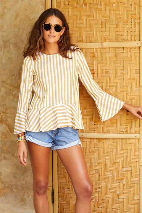 Rio Top In Mustard Stripe