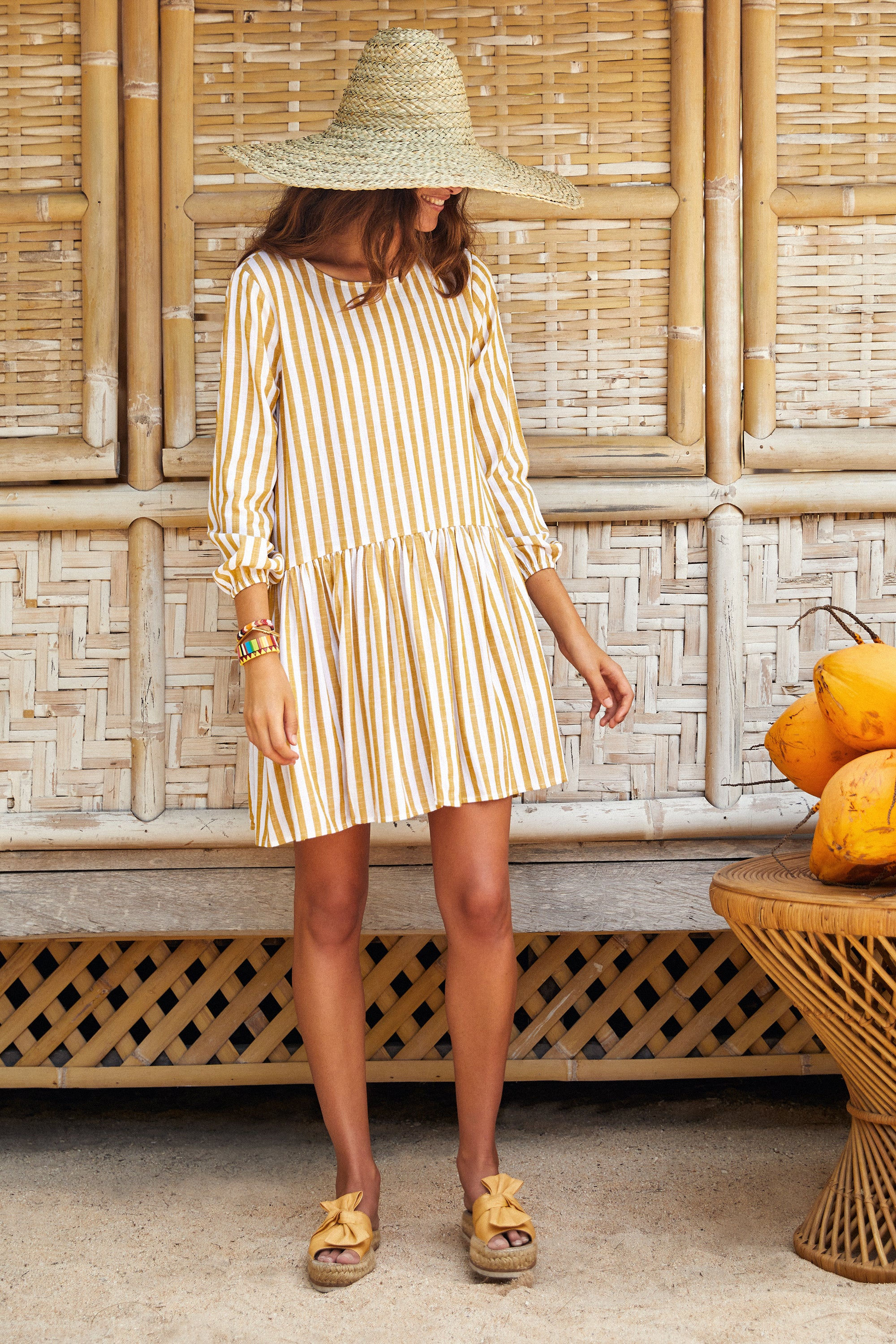 Elsa Dress In Mustard Stripe