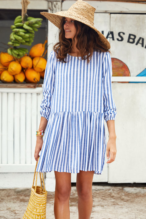 Elsa Dress In Blue Stripe