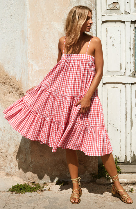 Sara Dress In Pink Gingham