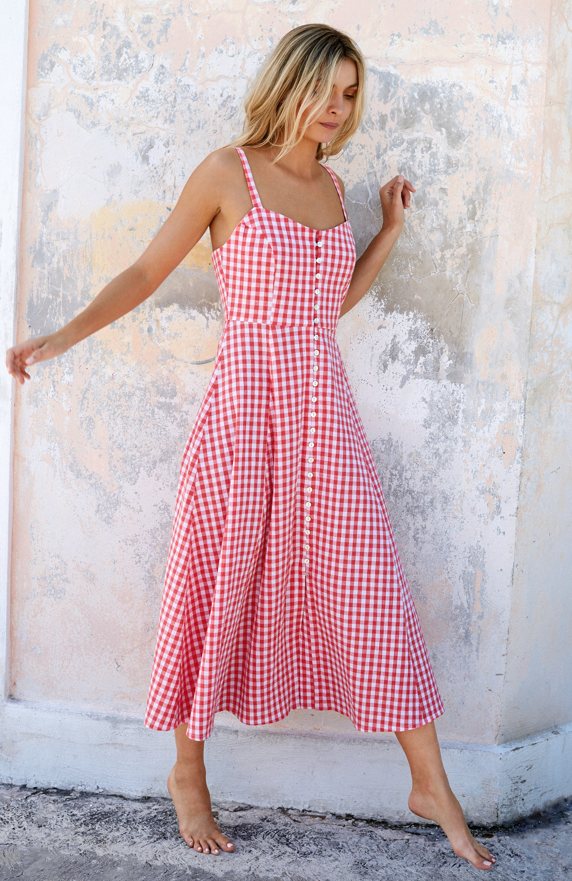Pia Dress In Pink Gingham