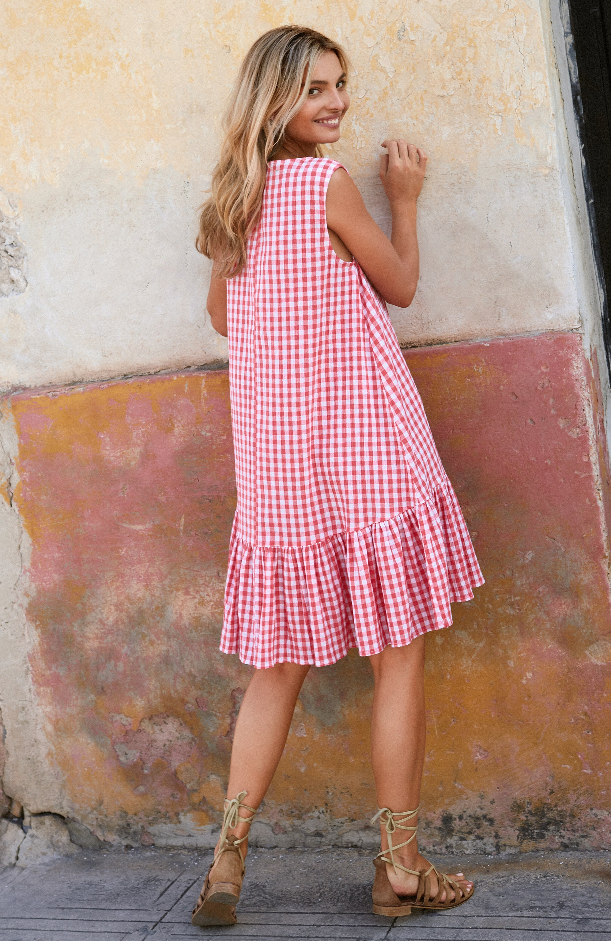 Harriet Dress In Pink Gingham