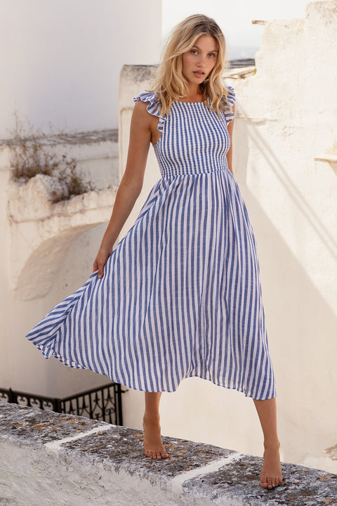 Abbie Dress In Blue Stripe