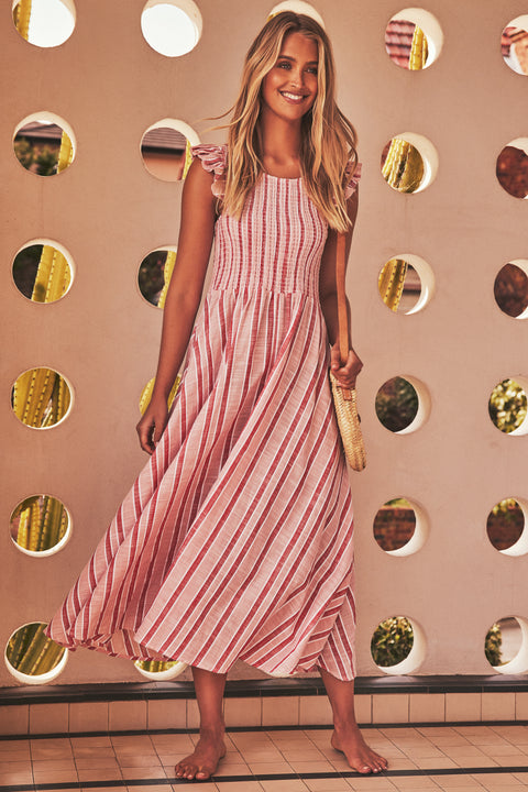 Abbie Dress In Pink Stripe