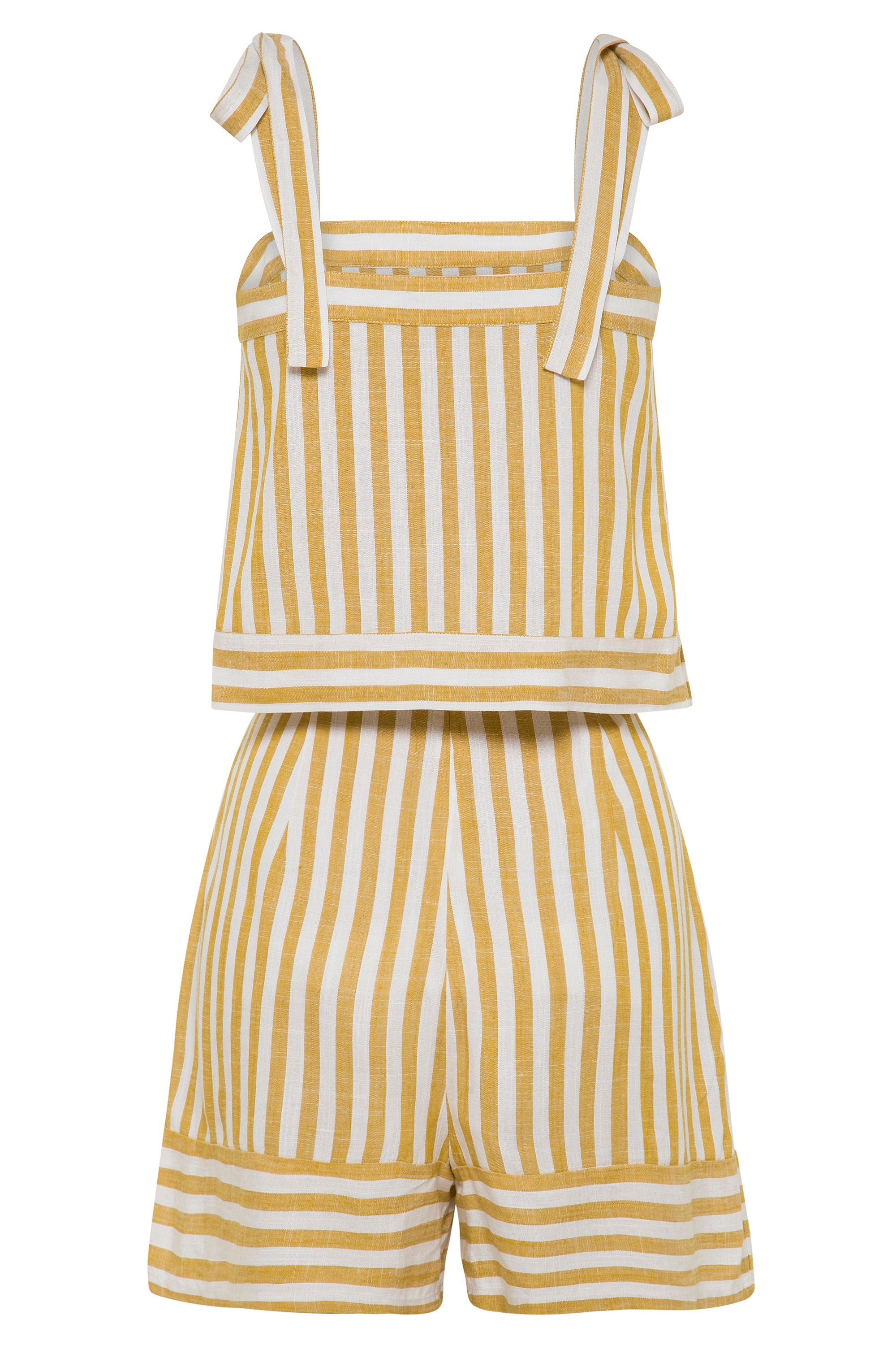 Dixie Playsuit In Mustard Stripe
