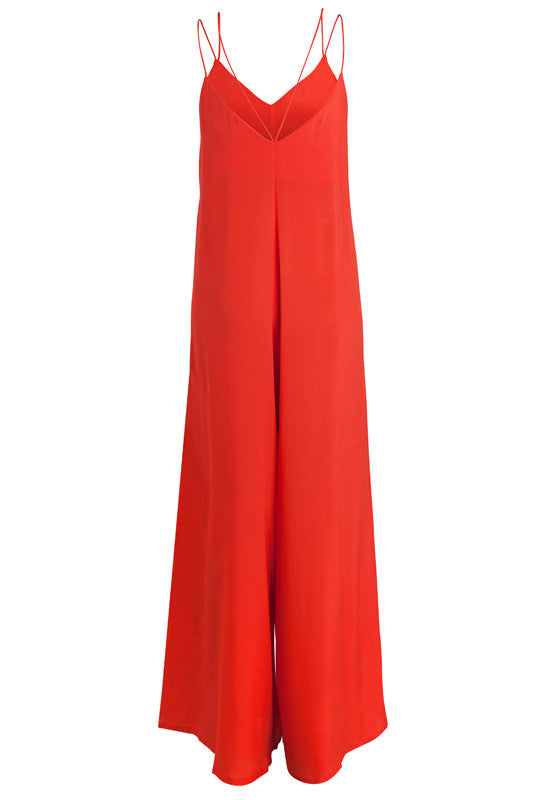RED SILK DELILAH JUMPSUIT