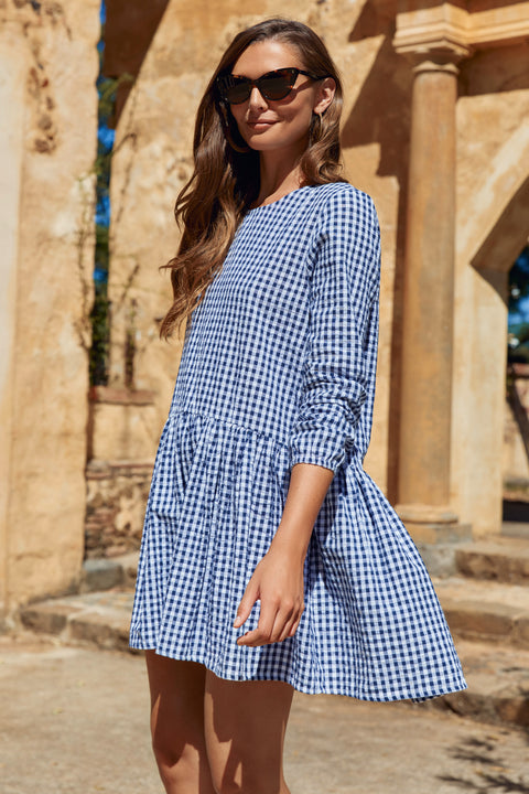 Elsa Dress In Navy Gingham