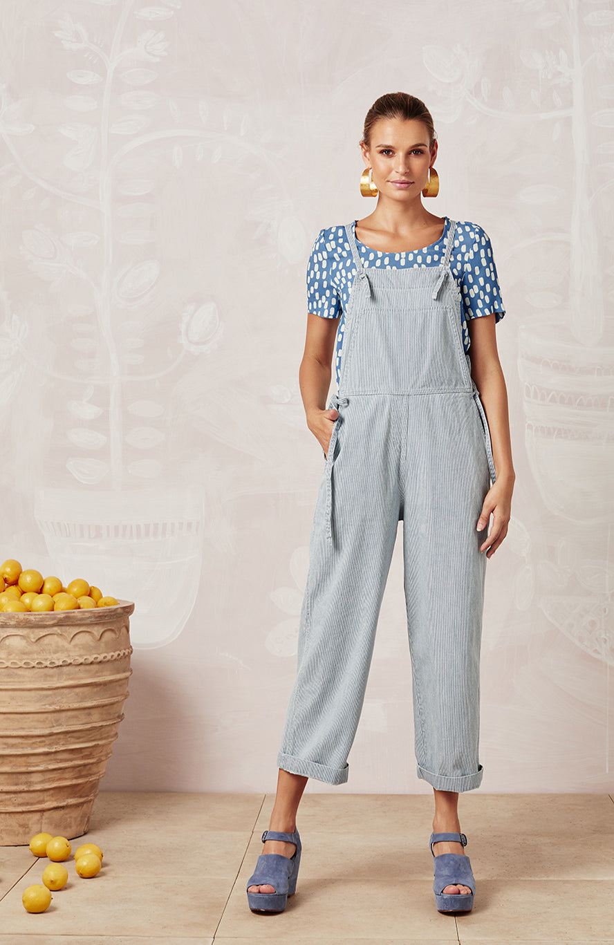 STRIPED DENIM KIT OVERALLS - JUMPSUITS - Mister Zimi