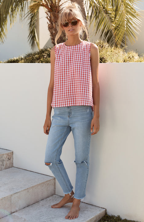 Lottie Top In Pink Gingham
