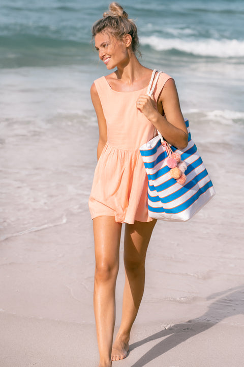 Beach Bag In Aegean Stripe